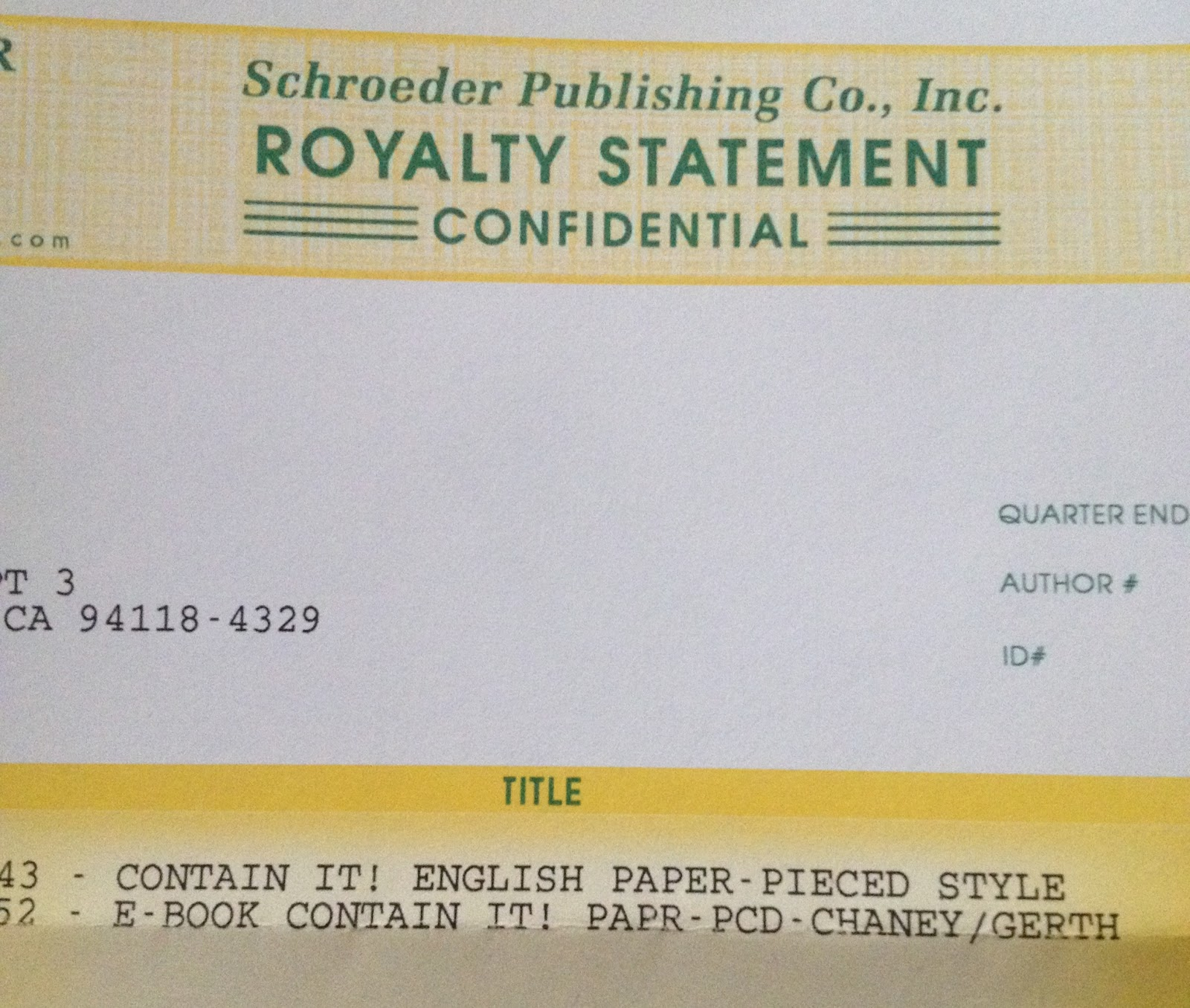 English Paper-Pieced Style Accessories Royalty Statement