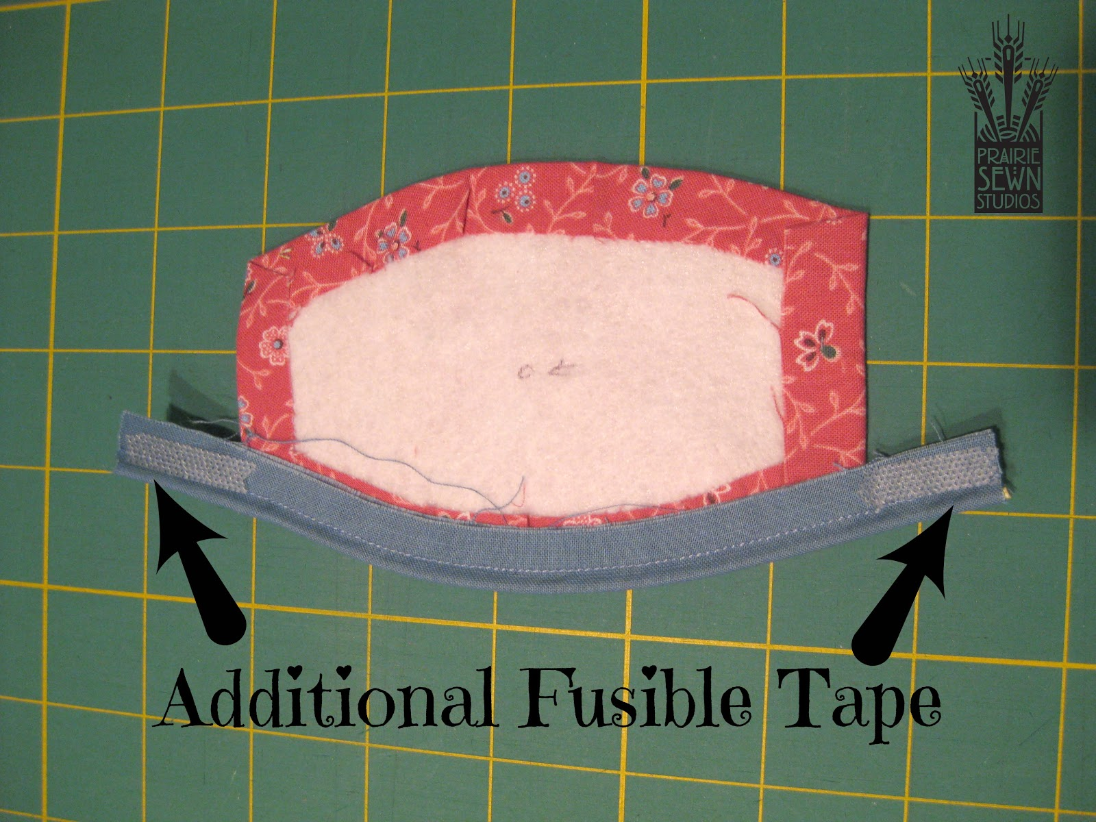 Add fusible tape to piping -Pumpkin with Piping